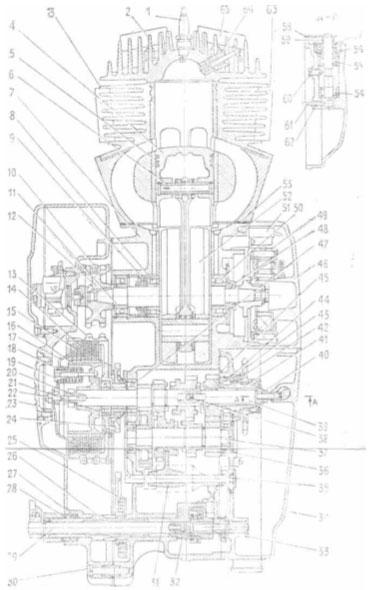 Двигатель с коробкой передач в